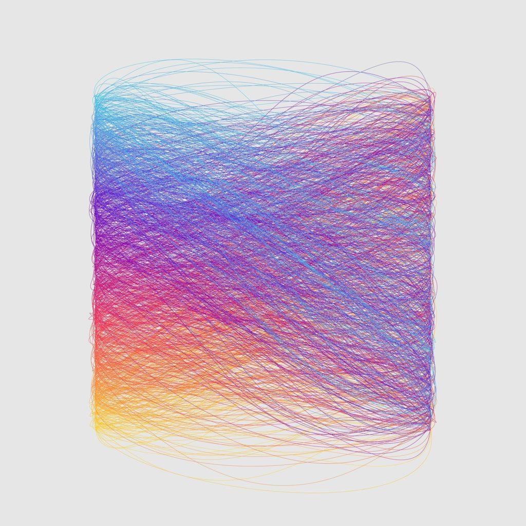 генеративный паттерн из цветных линий, имитирующих цветные шариковые ручки